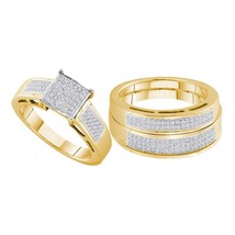 Yellow-tone Sterling Silver His Hers Diamond Cluster Matching Wedding Ring Set - $408.97