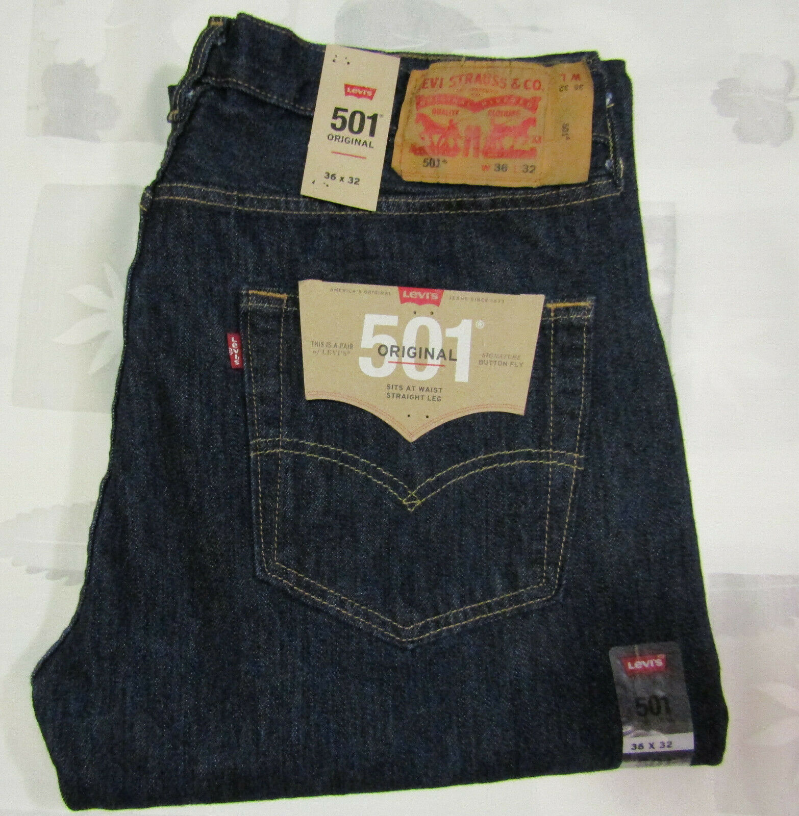 Primary image for Levis Strauss 501 36 X 32 Mens Blue Jeans XX Original Cotton Denim NWT Deadstock