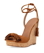 NEW Aquazzura Wild One Tassel Wedge Sandal, Cognac (Size 37) - $745.00! - $399.95