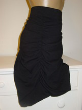 Lane Bryant black stretch knit skirt wiggle runched sides control panel ... - $18.49