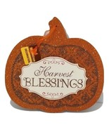 Thanksgiving Harvest Blessings Fall Wall Hanging Sign Plaque Pumpkin Gli... - $11.87