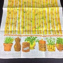 1975 Malandrino Linen Dish Towel Bamboo Exotic Spice Tiki Room Mint Ginger Chive - $19.31