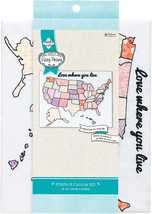 "Needle Creations Easy Peasy Embroidery Kit 8""X10""-USA Stamped On Canvas - $10.52"