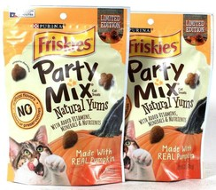 2 Purina 6 Oz Friskies Party Mix Limited Edition Natural Yums Pumpkin Ca... - $15.99