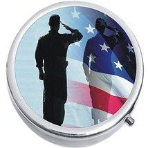 US Flag Salute Medicine Vitamin Compact Pill Box - $9.78