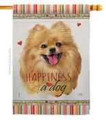 Pomeranian Happiness - Impressions Decorative House Flag H110206-BO - $40.97