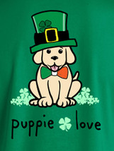 Puppie Love Rescue Dog Men Women Short Sleeve Graphic T-Shirt, Shamrock Hat Pup image 2