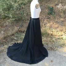 1900s Antique Skirt w/ Train Victorian Edwardian black satin detail - $127.71