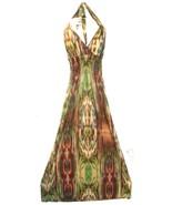 Size M - Brown & Green Fantasy Striped Tie Dye Long Halter Dress w/Padding - $33.24
