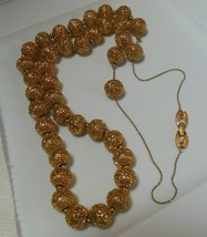 Vintage Signed Monet Long Gold-tone Filigree Ball Necklace  - $64.35