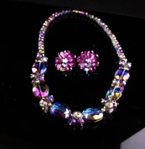 Chunky Amethyst Glass Necklace / Purple Aurora borealis earrings - Vinta... - $75.00