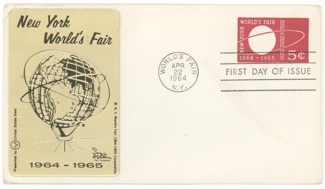 1964 New York Worlds Fair Sarzin Metal Cachet #U546 First Day Cover! FDC
