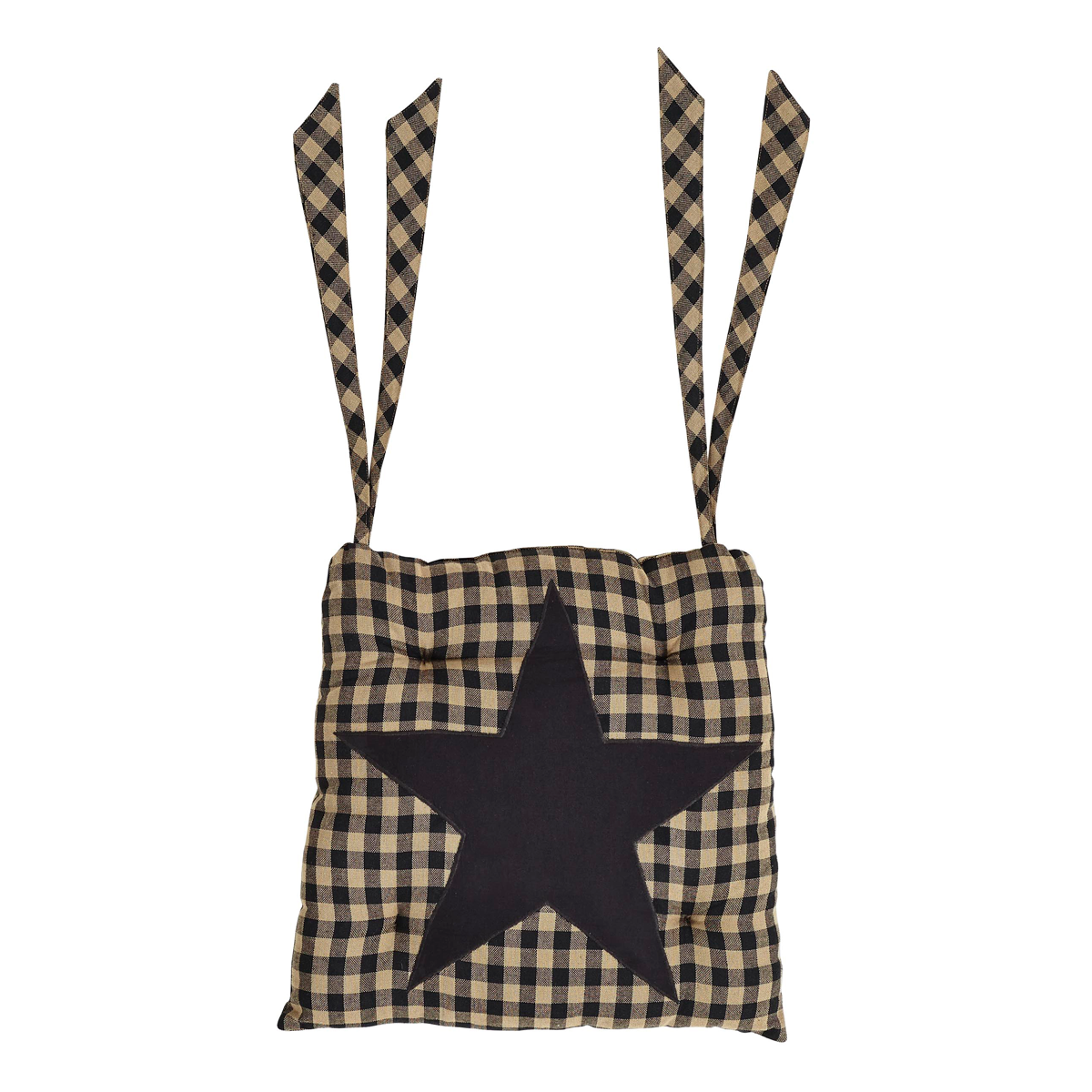 BLACK STAR Chair Pad - 15x15 - Country Farmhouse - Black/Tan Check  - VHC Brands