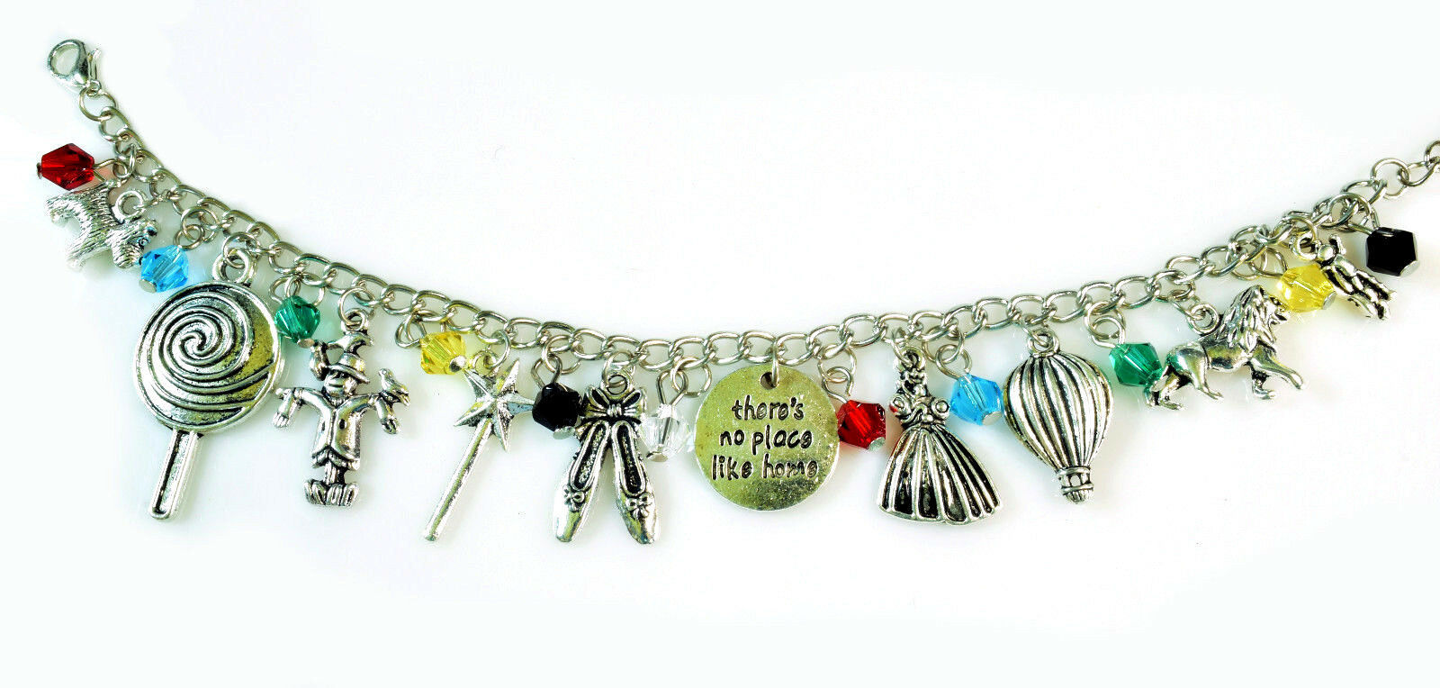 The WIZARD OF OZ Silver Beaded Charm Bracelet 7.5 inch NEW image 2