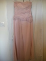 White Vera Wang Size 10 Pink Strapless Flowy Women Formal Dress Gown Wed... - $59.40