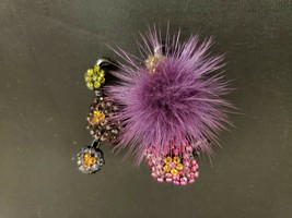 Betsey Johnson Black Jeweled Poodle With Purple Poof  Pin / Pendant - $18.69