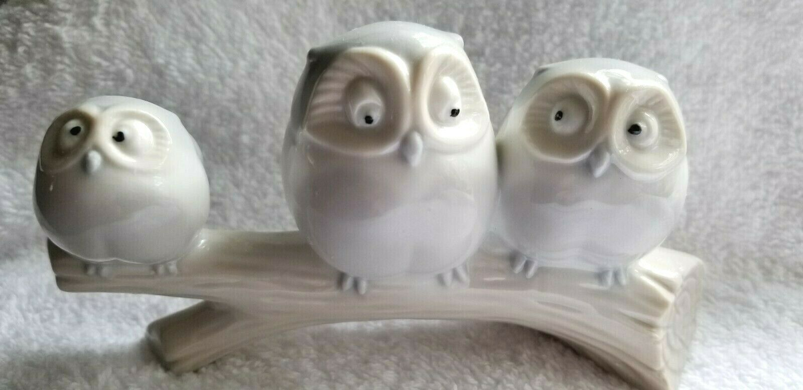 Primary image for Three Owls on a Branch Figurine Vintage Japan Porcelain Lovely