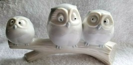 Three Owls on a Branch Figurine Vintage Japan Porcelain Lovely - $16.00