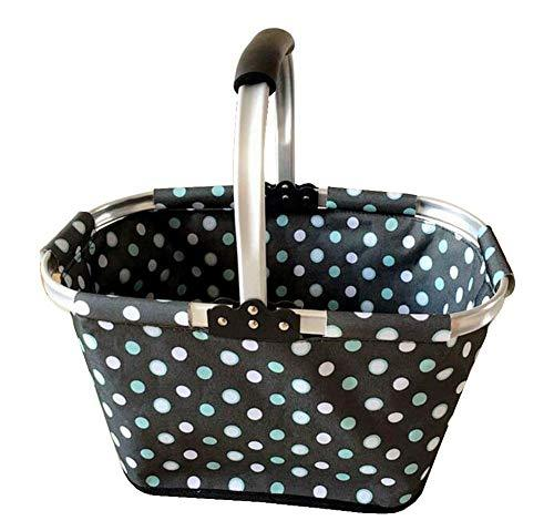 Primary image for Black Temptation [Polka Dot] Collapsible Picnic Basket Foldable Shopping Basket