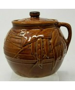 Vintage McCoy Pottery Bean Pot With One Handle And Lid Pea Pod And Leaf ... - $18.80