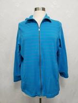 Avenue Womens LightWeight zip front Jacket Blue Stripe Long Sleeve 14/16... - $5.93