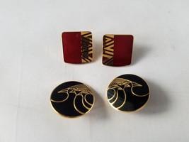 Vintage Laurel Burch Signed Earrings Naito & Celestial Birds 2 Pair - $23.24