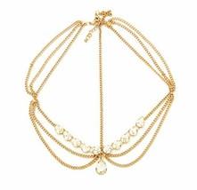 Gold Tone Womens Tear Drop Rhinestone Accent Head Chain Jewelry - $9.96