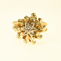 18k Gold and Diamond Flower cluster ring Uk Size O BHS - $2,541.29
