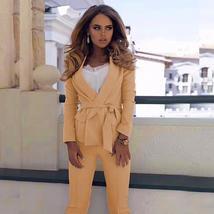 Women's Sexy Gold Long Sleeve Fashion Blazer Jacket and Pants Suit Set image 6