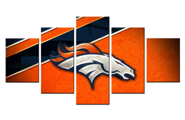 New Denver Broncos Sports Logo Rugby 5 Piece Canvas Art Wall Art Picture... - $25.00+