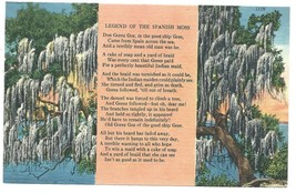 Poetry Postcard Legend of the Spanish Moss Postcard Linen Tichnor Bros - $3.37