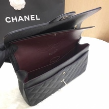 AUTHENTIC NEW CHANEL BLACK CAVIAR QUILTED JUMBO DOUBLE FLAP BAG SILVER HARDWARE image 2