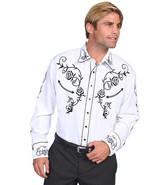 Men's Western Shirt Long Sleeve Rockabilly Country Cowboy White Black Rose - $87.79