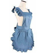 Retro Adjustable Ruffle Apron Kitchen Cooking Baking Cleaning Maid blue - $37.15