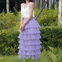 Women Purple Layered Tulle Skirt Outfit Plus Size Romantic Wedding Party Outfit  image 1