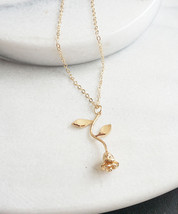 Rose Pendant Necklace in Gold Rose Gold Mother's Day Roses Jewelry Gift for Her - $12.80
