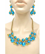 Statement Cluster Necklace Earring Turquoise Pool Blue Rhinestones Casua... - $37.95
