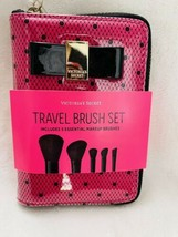 Victorias Secret Pink Black Bow  Travel Cosmetic Brush Set NWT 5pcs - $24.65