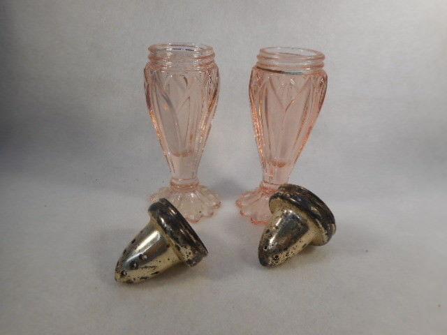 Vintage Pair Pink Elegant Depression Glass Salt and Pepper Shakers