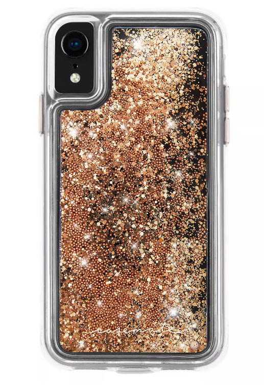 "Case-Mate 2018 iPhone 5.8"" Gold Waterfall Clear Plastic Protective Phone Case"