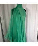 Vintage Mollie Parnis Dress Green Sheath With Ruffled Scarf Sleeveless S... - $202.70