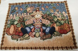 "Set of 4 Tapestry Placemats, 13""x18"", HAPPY HARVEST, SCARECROWS,PUMPKINS... - $19.79"