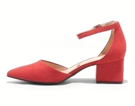 A New Day Women's Natalia Red Microsuede Pointed Toe Block Heeled Pumps image 2