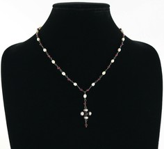 Vintage .925 Sterling Silver Cranberry Pearl Glass Bead Drop Link Neckla... - $22.49