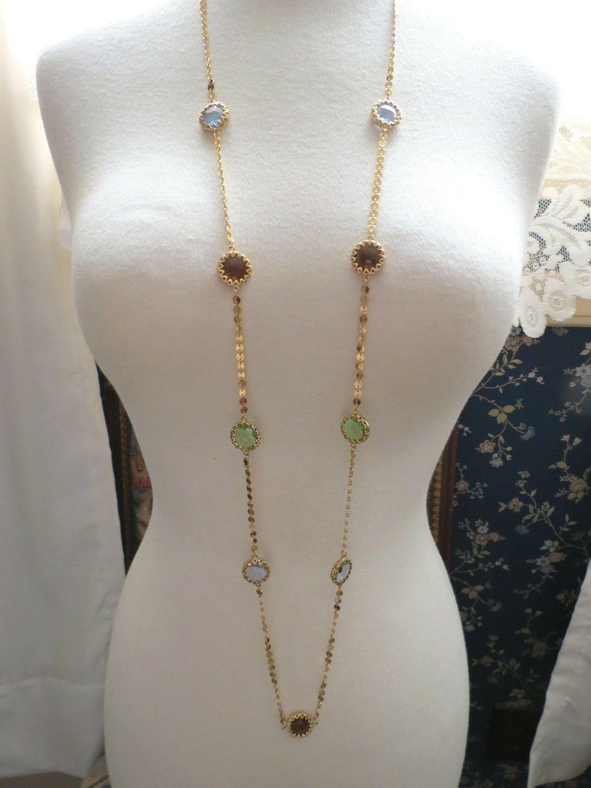 "Robert Verdi Bezel Set Crystal Necklace Gold Plated Links 46"" Cushion Designer"