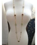 "Robert Verdi Bezel Set Crystal Necklace Gold Plated Links 46"" Cushion De... - $37.61"