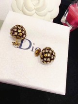 Authentic Christian Dior 2019 CRYSTAL STAR BEADS Double Pearl Tribales Earrings image 4