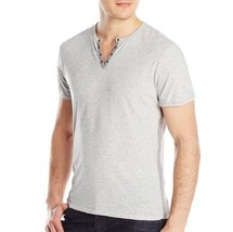 John Varvatos Star USA Men's Short Sleeve Metal Eyelet Henley Shirt Grey... - $1.041,68 MXN