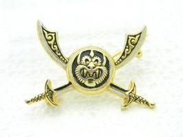 Vintage Gold Tone Damascene Japanese Monster Sword Pin Brooch - $39.60