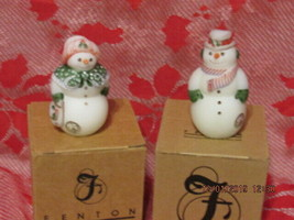 FENTON ART GLASS 2000 FROSTY FRIENDS SNOWMAN & SNOWLADY FIGURINES  - $125.00